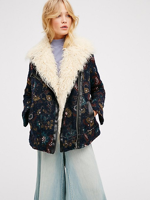 Product Image: Jacquard Wool Coat With Faux Fur