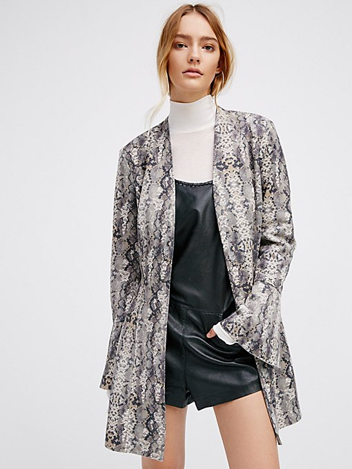 Product Image: Printed Faux Suede Flare Jacket