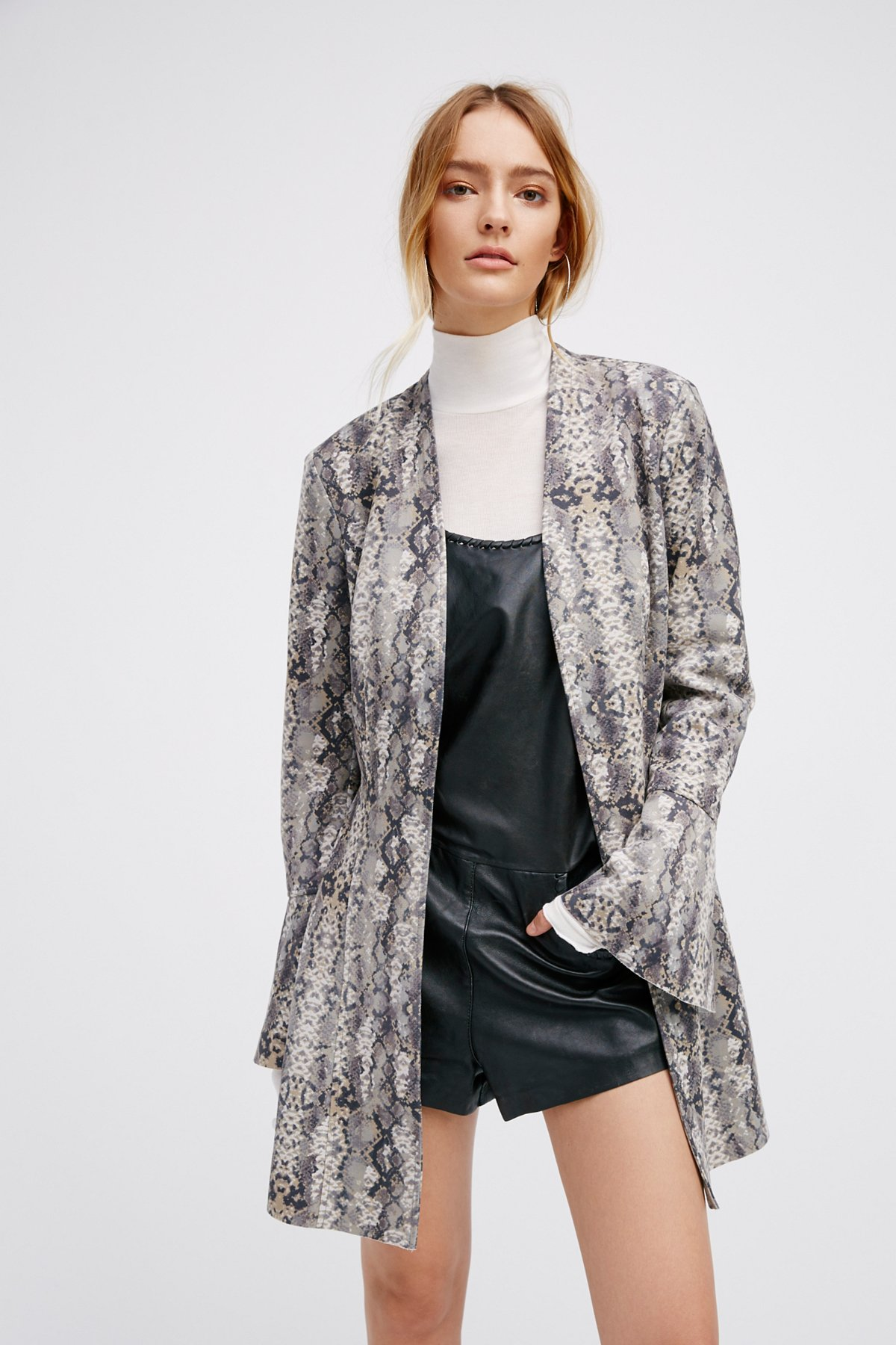 Printed Faux Suede Flare Jacket