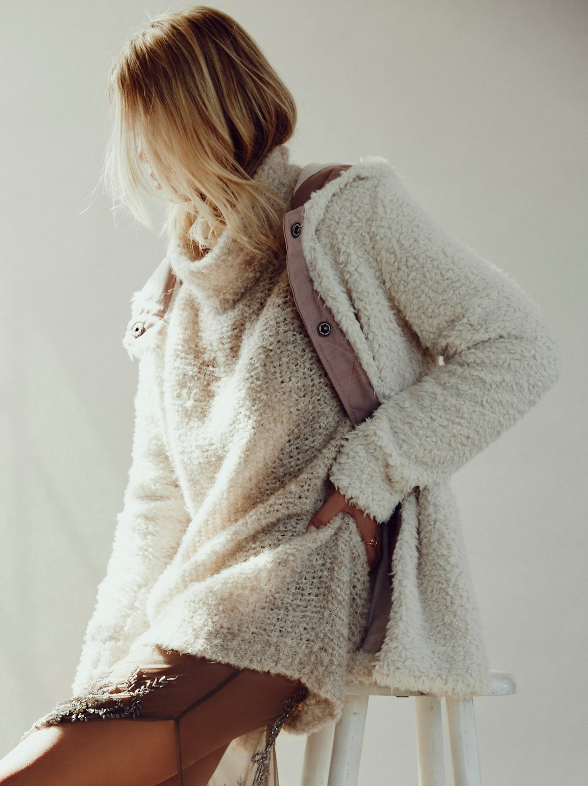 Sherpa and Knit Liner Coat