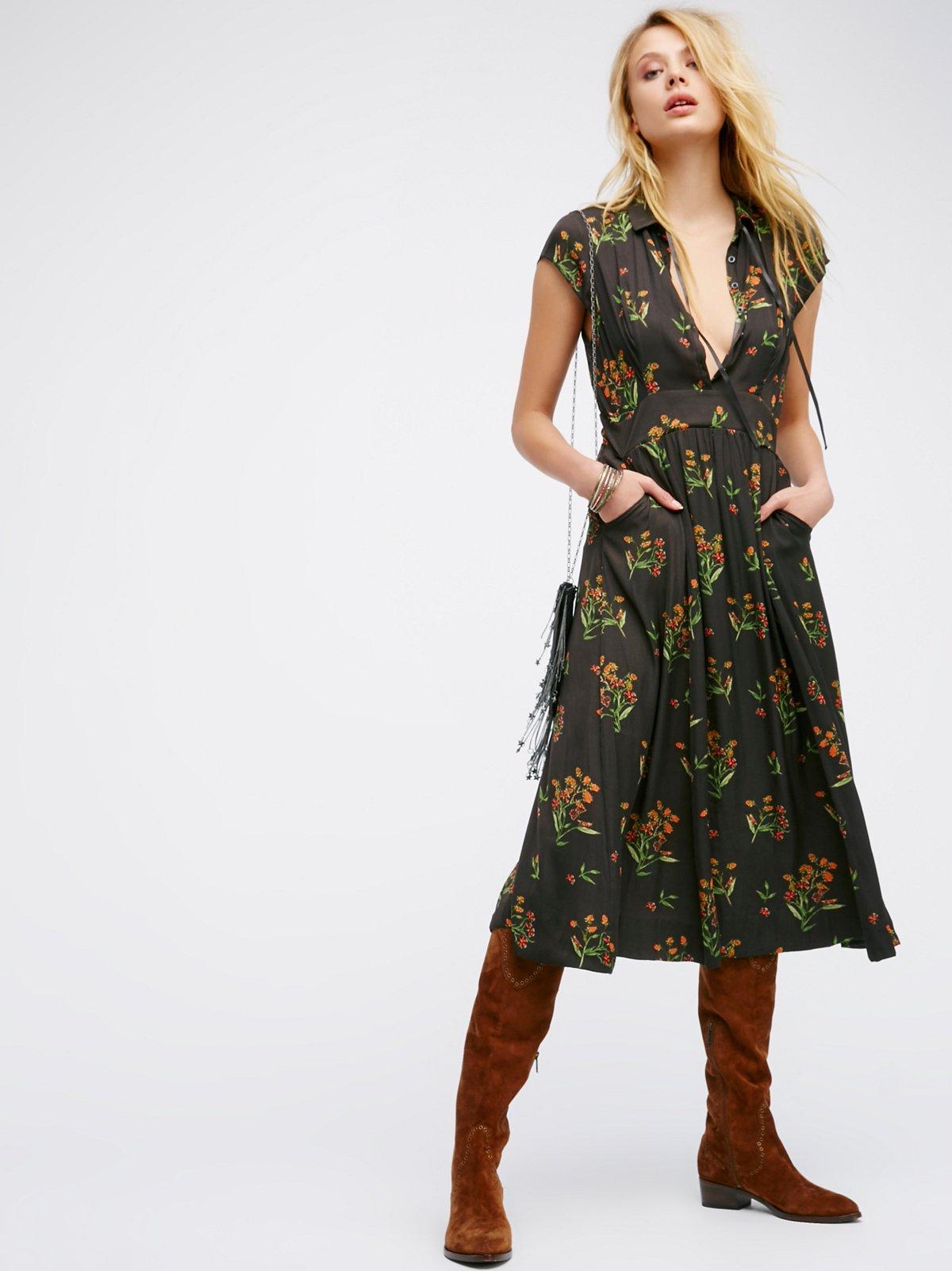 '40s Printed Midi Dress
