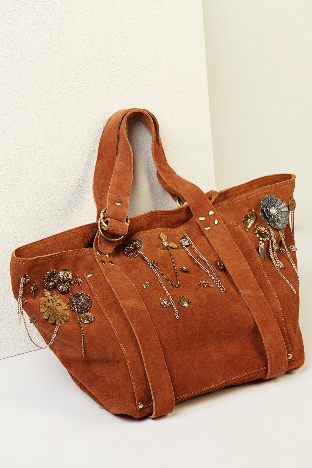 装饰麂皮手提包