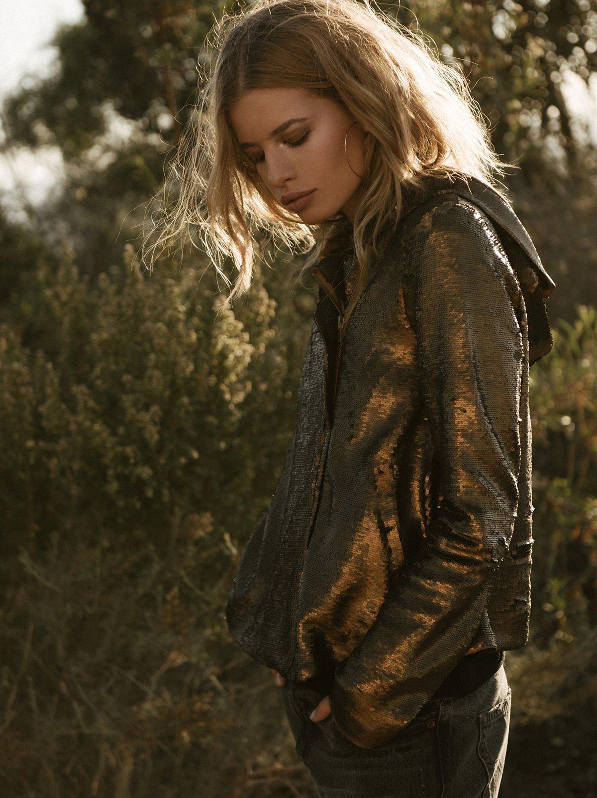 Hooded Sequin Jacket