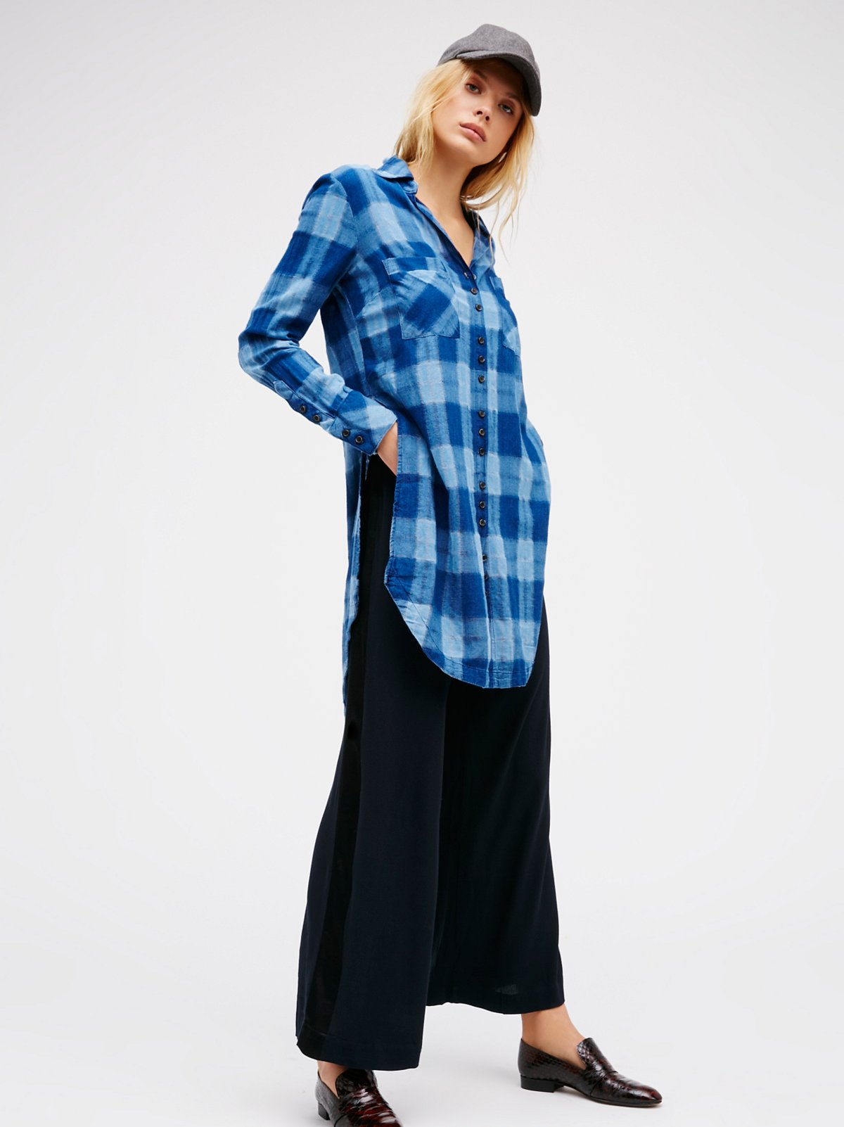 Indigo Plaid Tunic