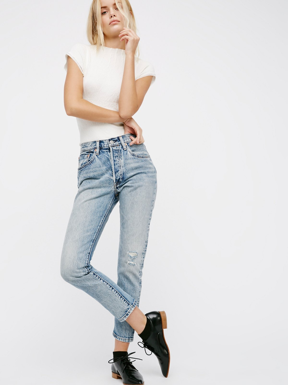levi 39 s 501 skinny jeans at free people clothing boutique. Black Bedroom Furniture Sets. Home Design Ideas