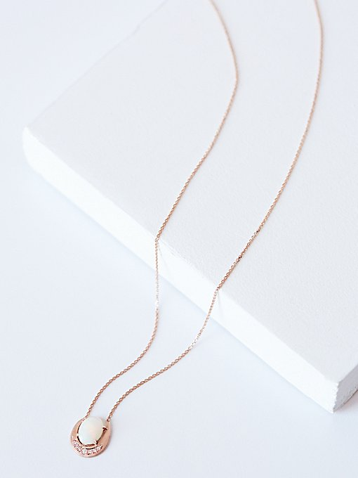 Product Image: Irius镶钻石和猫眼石新月吊坠项链