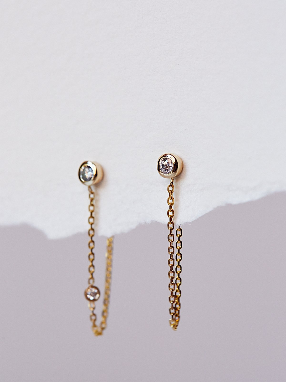 Tiny Diamond Chain Hoops