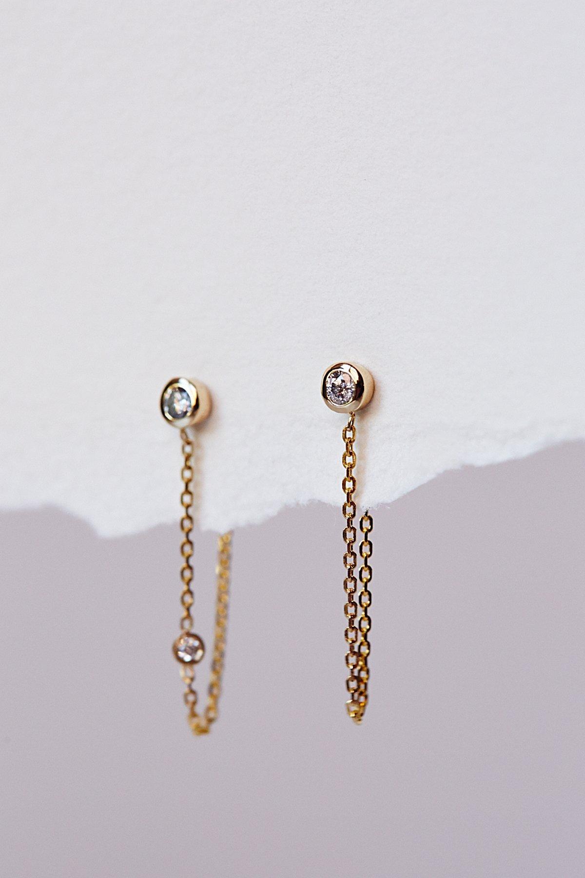 Tiny Diamond Chain Hoops