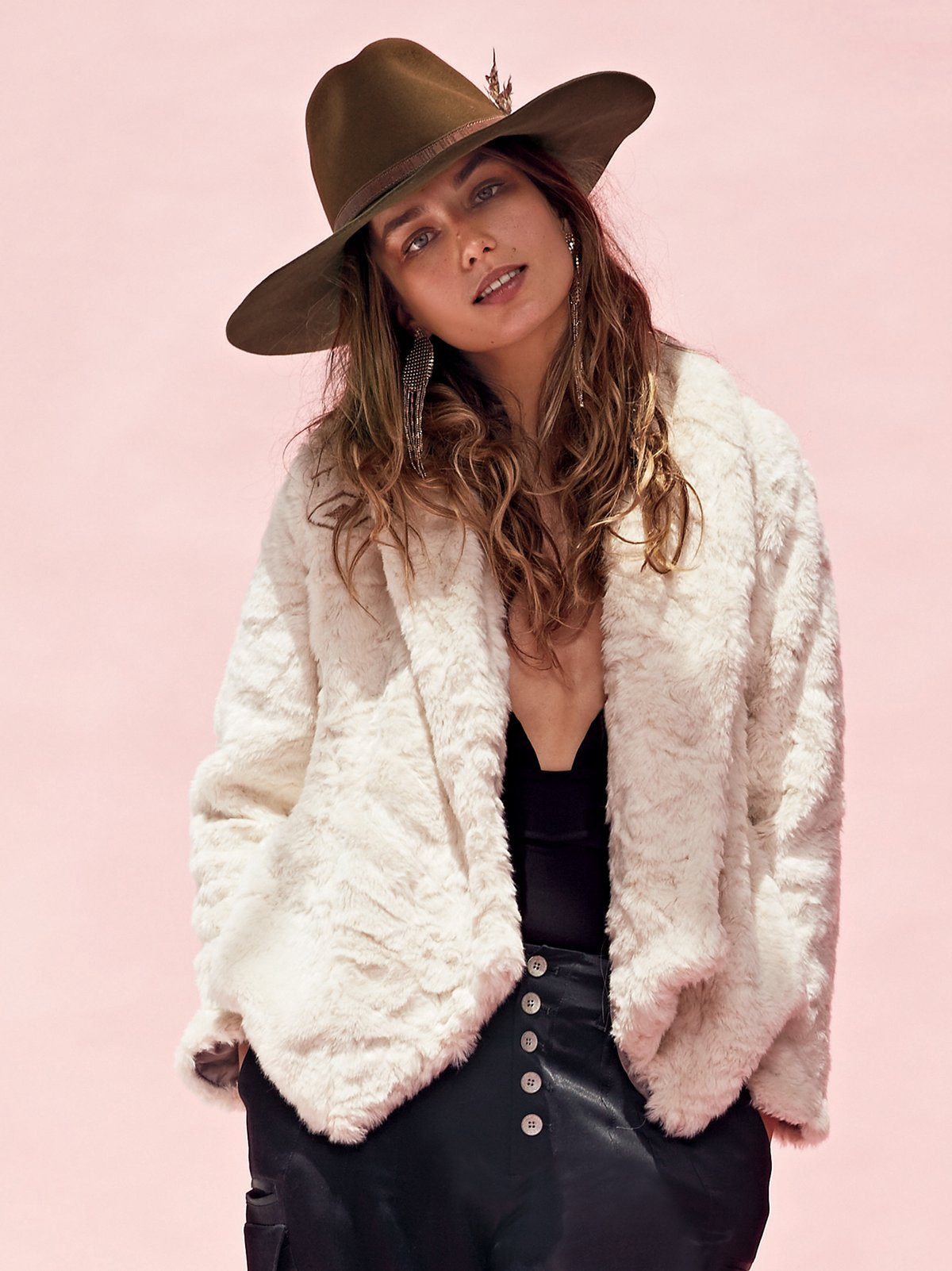 Embroidered Cascade Fur Jacket