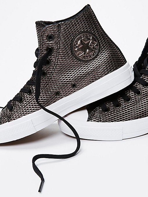 Product Image: Perforated Metallic Leather Hi Top Chucks