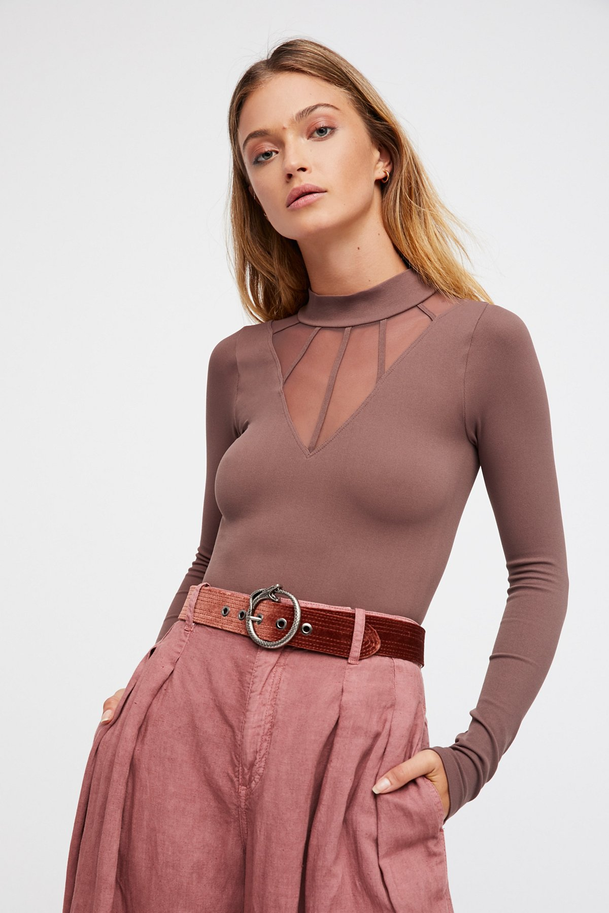 Mesh Cage Mock Neck Top