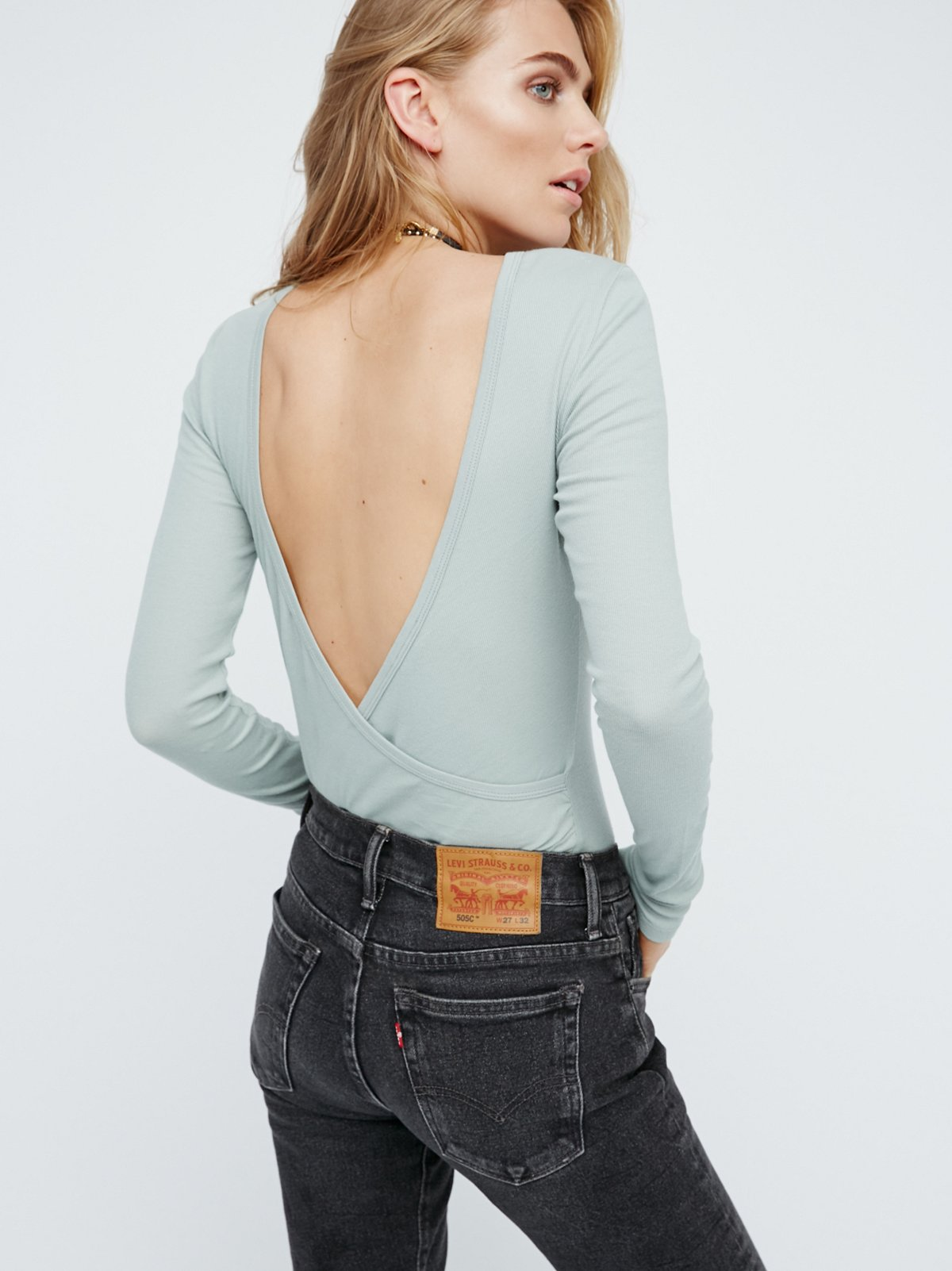 Surplice Back Long Sleeve Layering Top