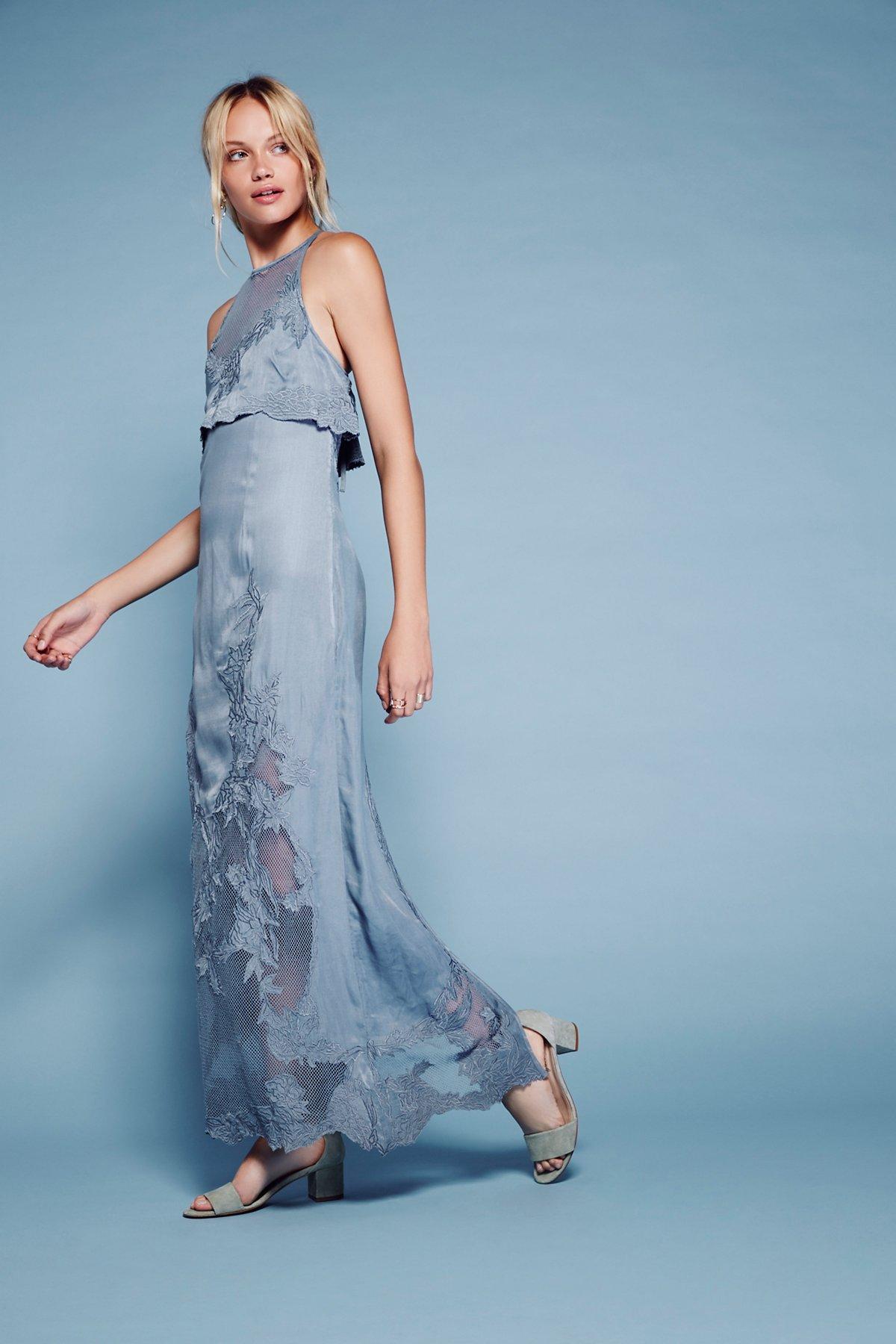 Moonchild刺绣连衣长裙