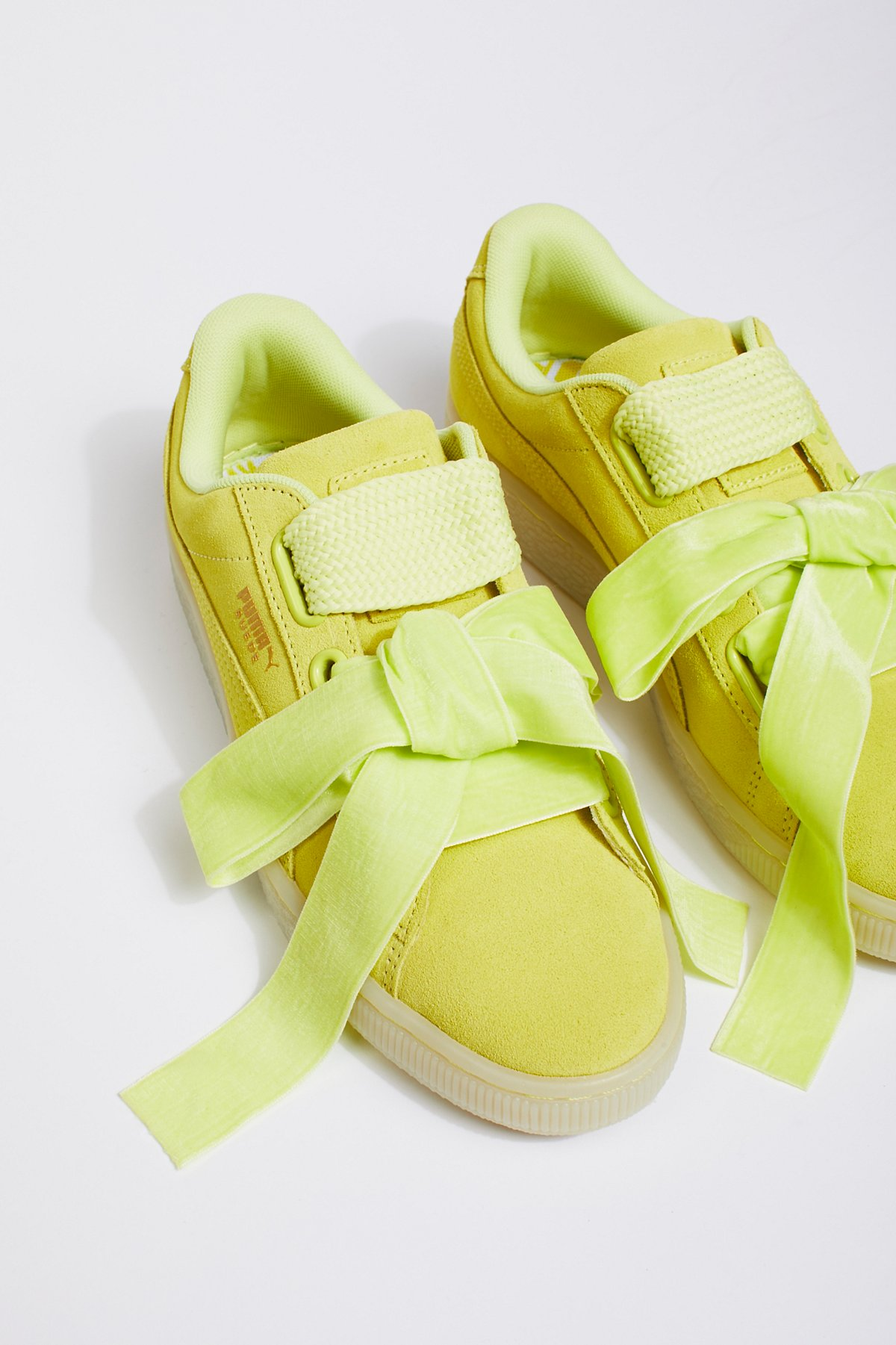 Suede Heart Satin Sneaker