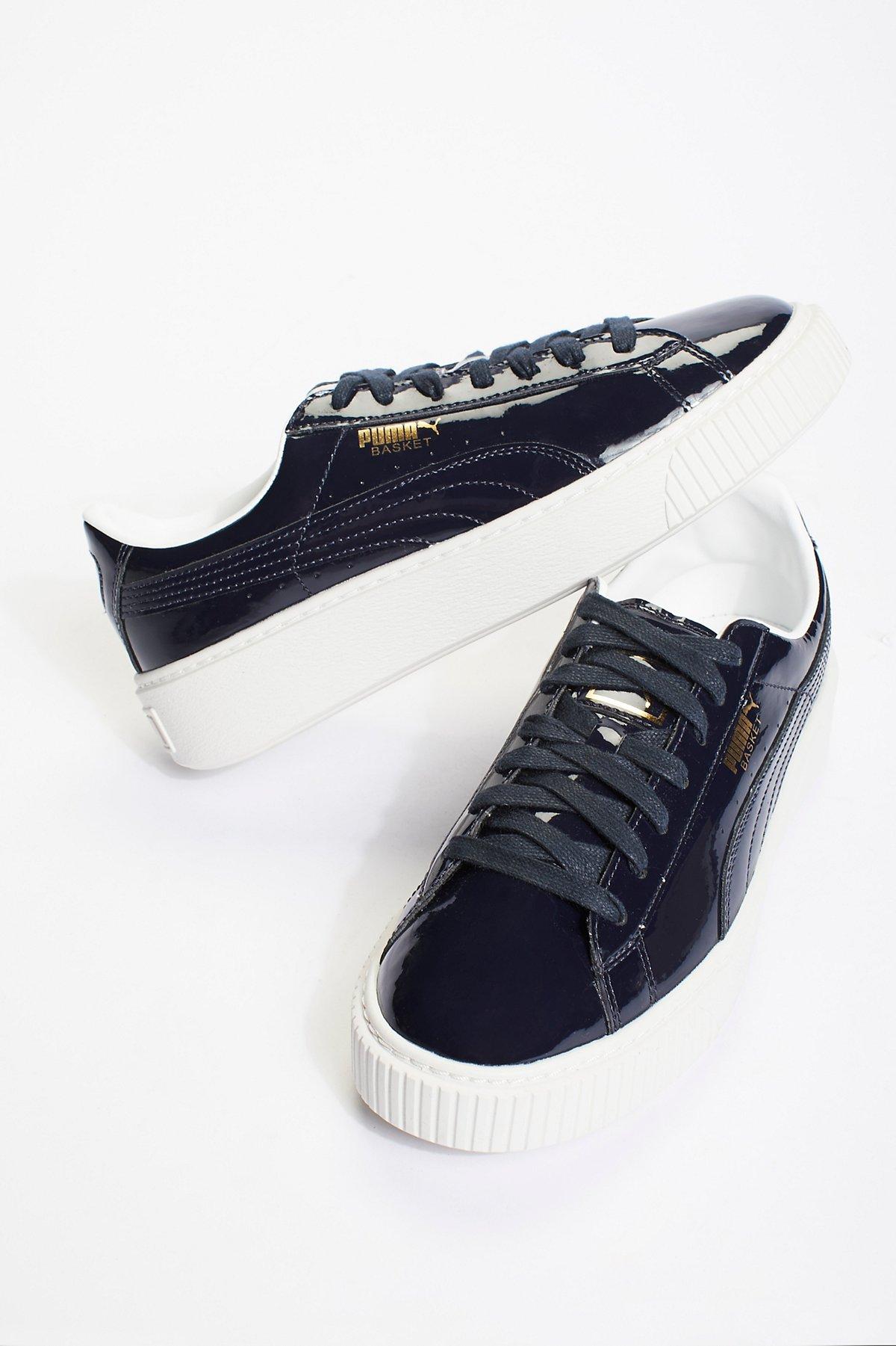 Basket厚底漆皮运动鞋