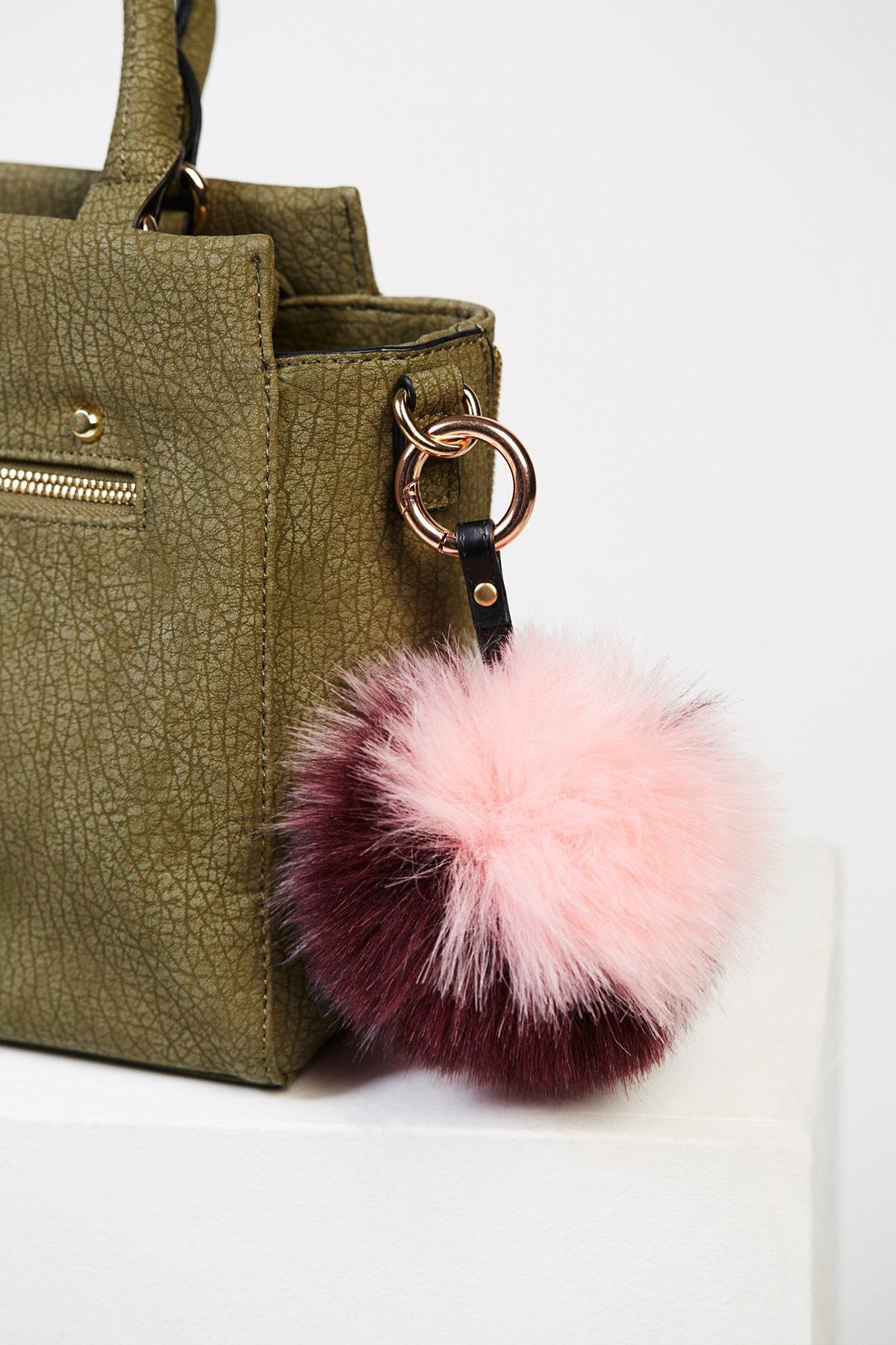 Multi Faux Fur Pompom Bag Charm