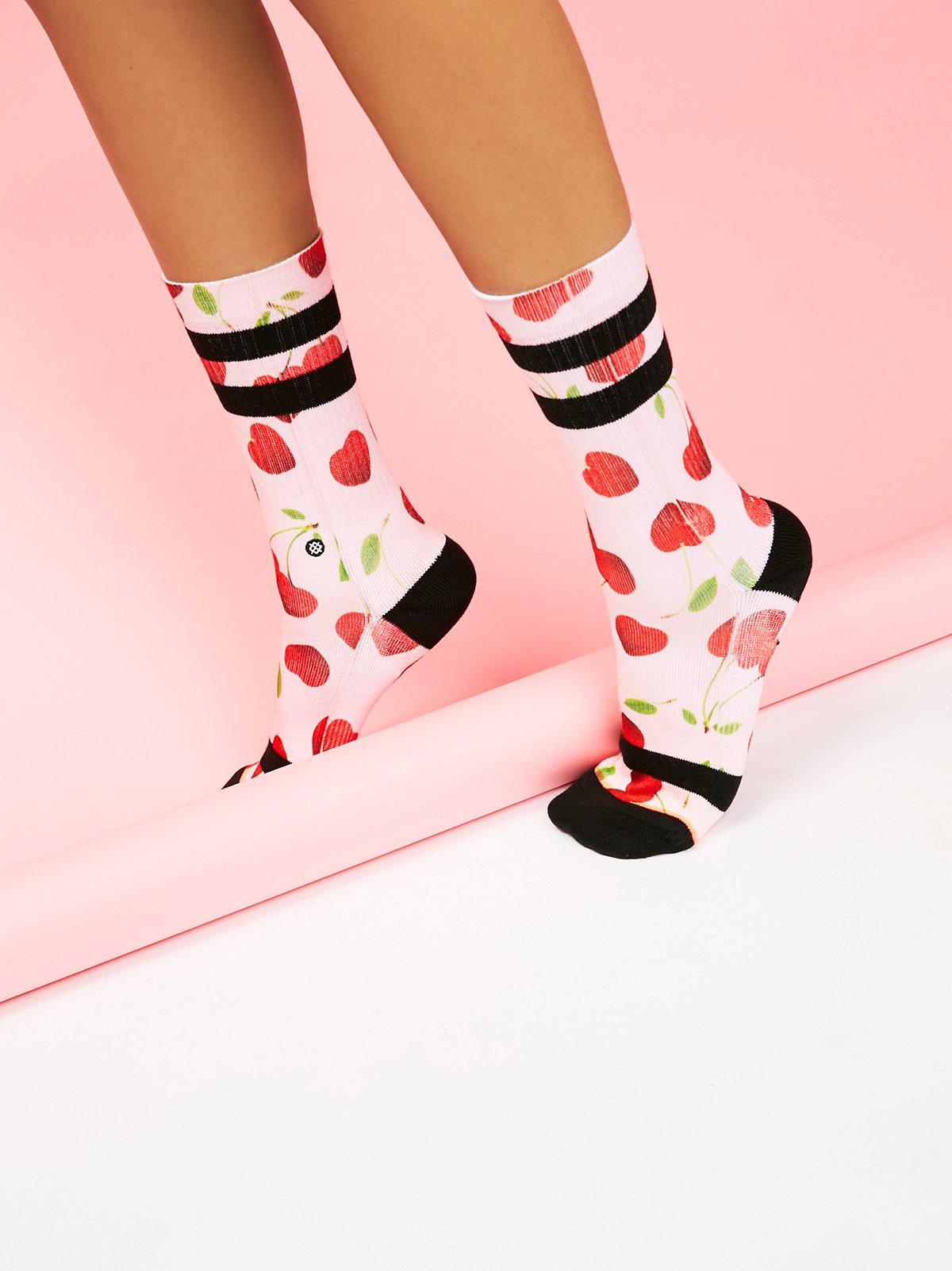 Cherry Hearts Crew Sock