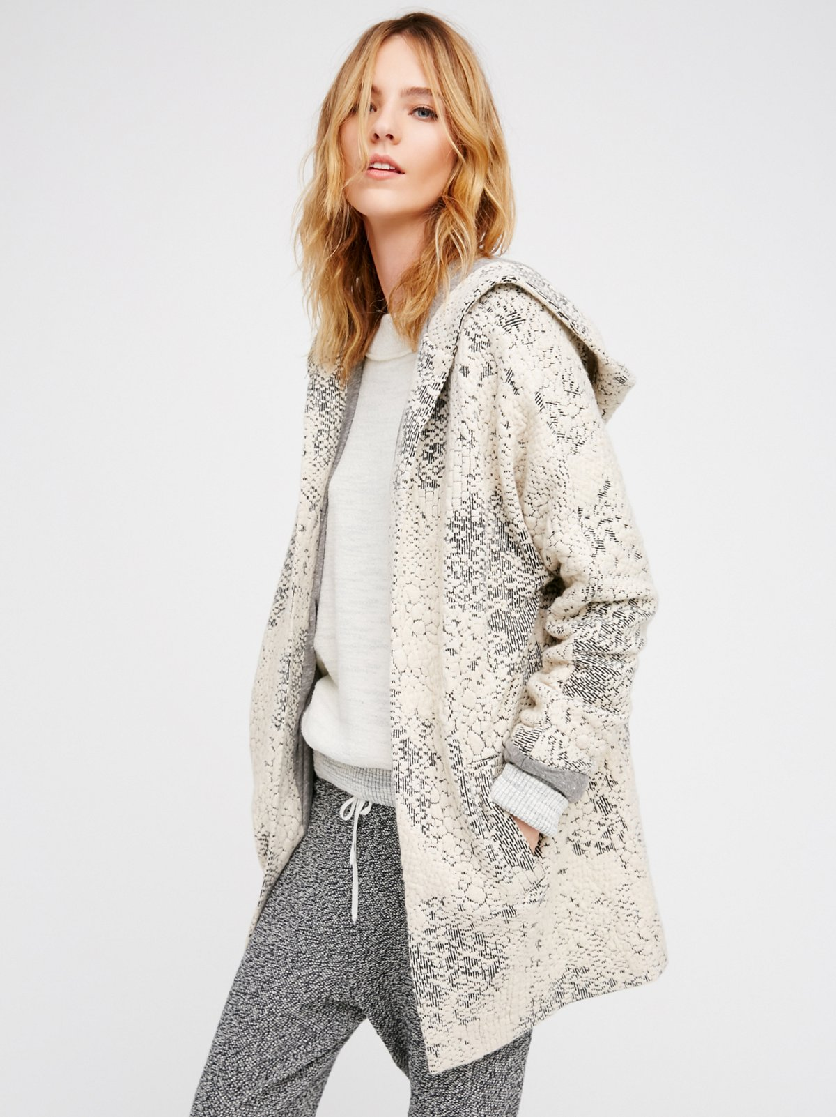 Knit Jacquard Cosy Jumper Jacket