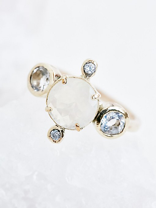 Product Image: 14K Polaris Opal x White Topaz Ring