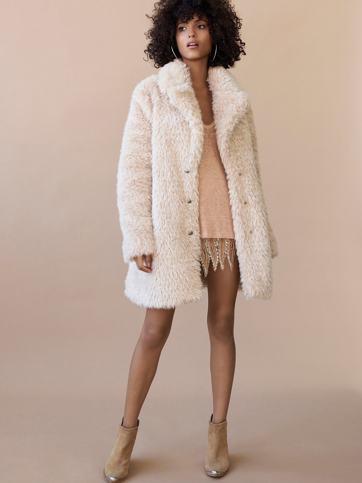 Lux Faux Fur Coat With Printed Lining at Free People Clothing Boutique