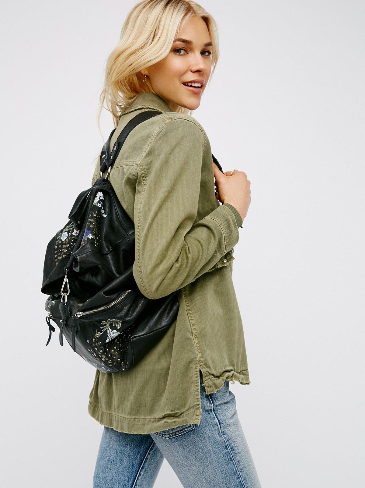 Violet Storm Leather Backpack