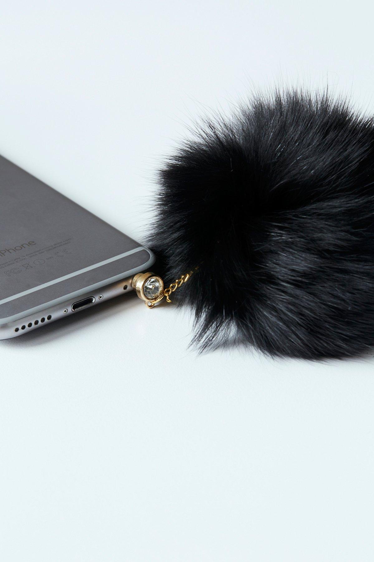 Faux Fur Pom Phone Charm