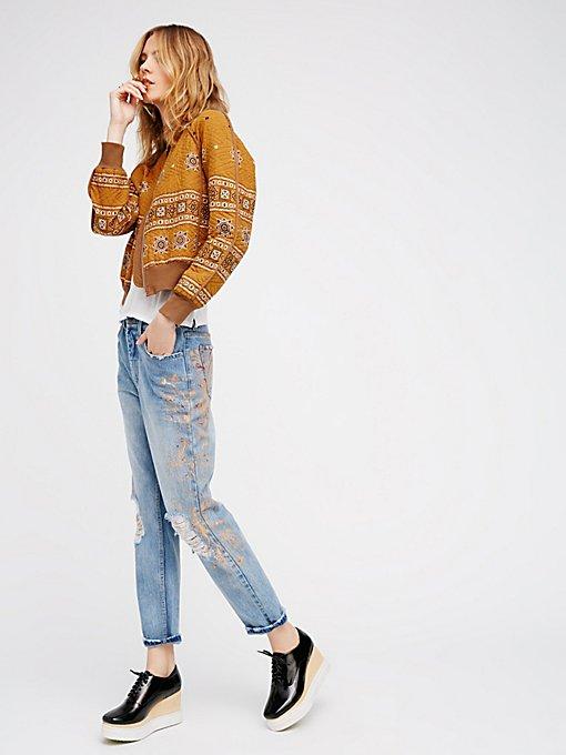 Product Image: 图案和做旧牛仔裤