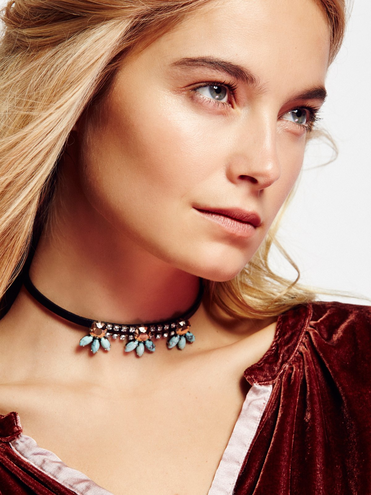 Crystal Blossom Leather Choker