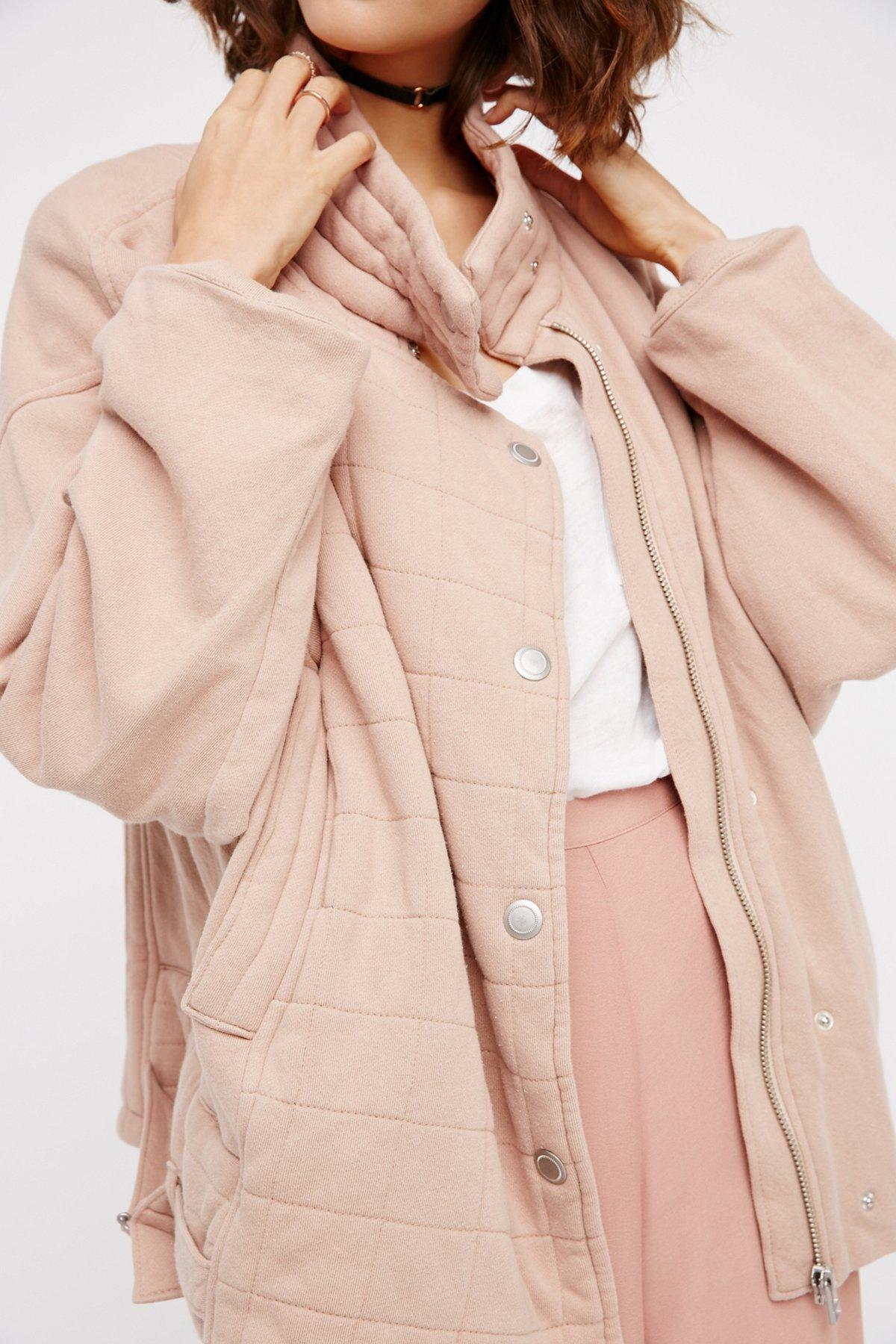 超大针织绗缝夹克