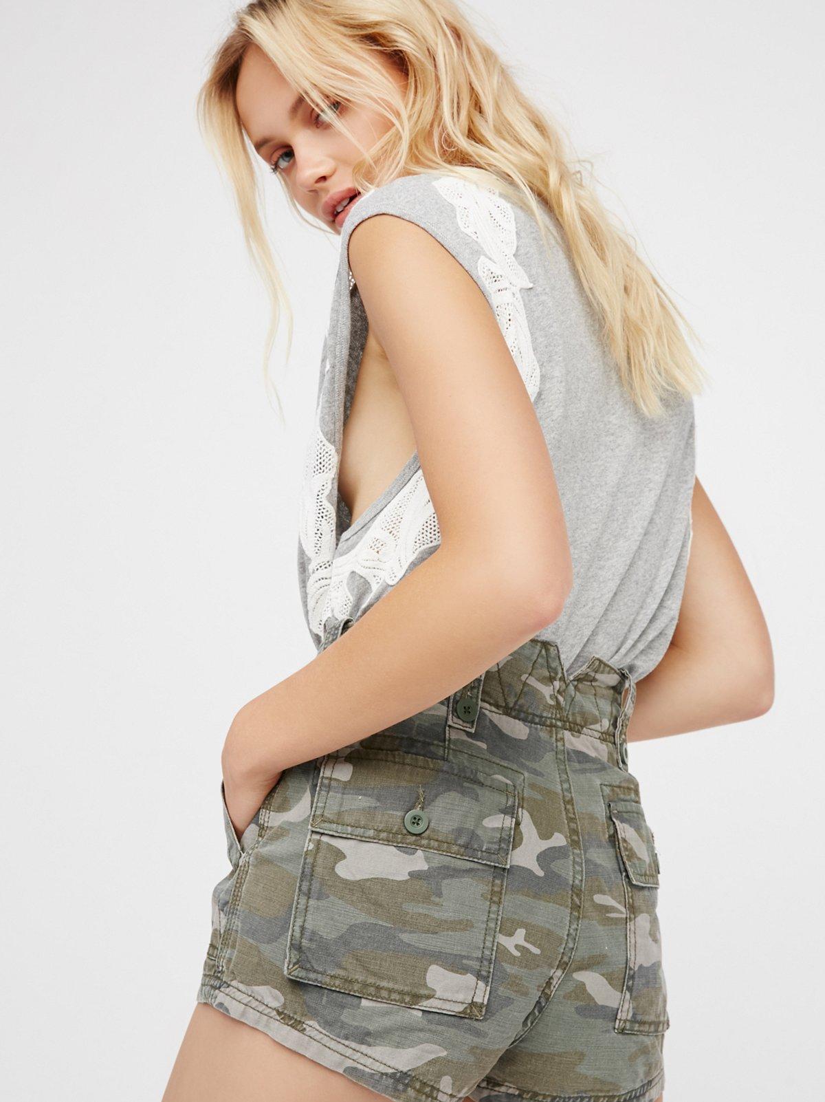 军装风高腰短裤