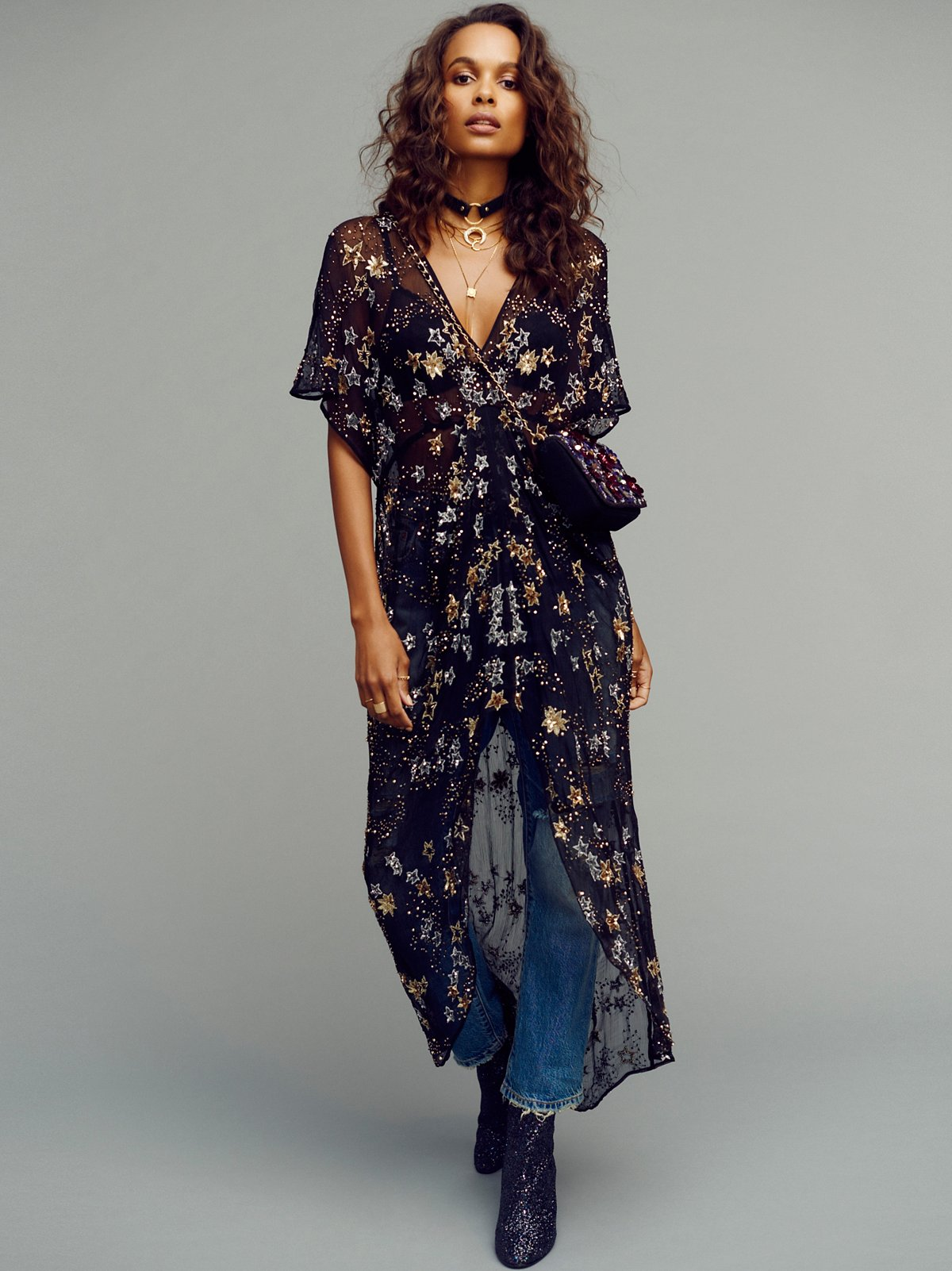 Starry Night Embellished Maxi Top