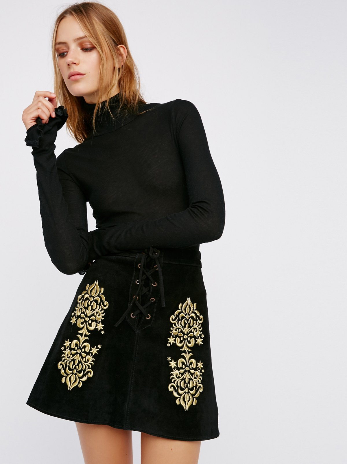 Wild West Embroidered Mini Skirt