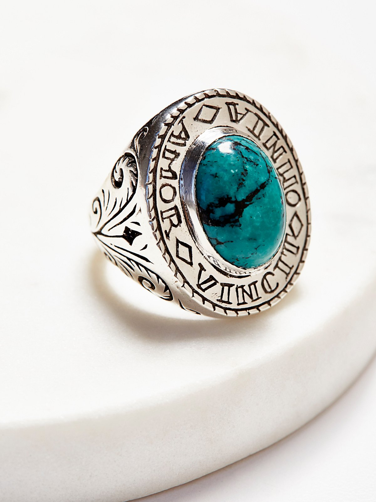 Amour Silver Turquoise Signet Ring