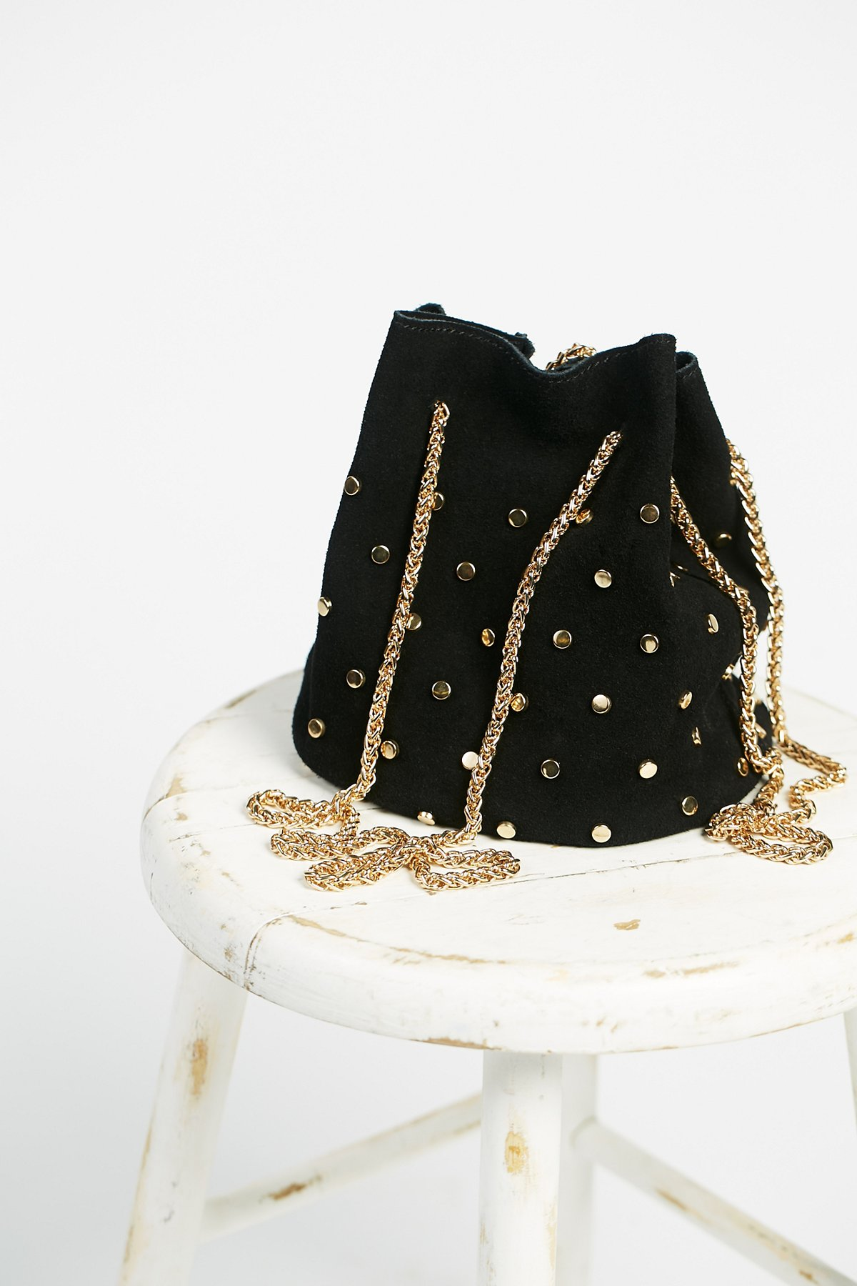 Studded Suede Party Pouch