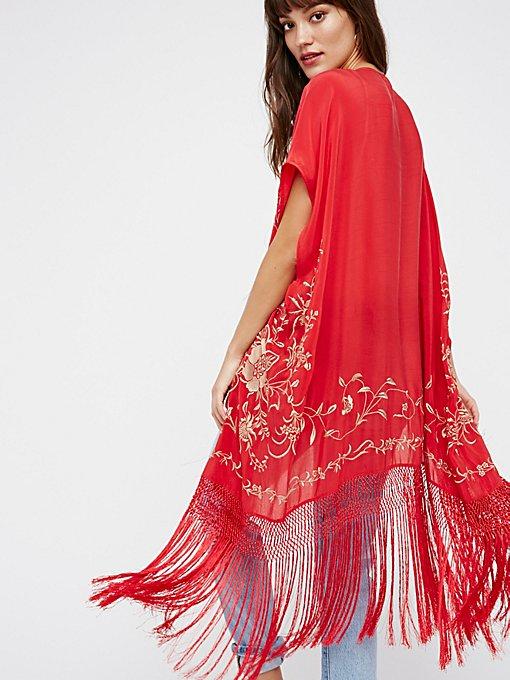 Product Image: Ophelia Embroidered Fringe Kimono