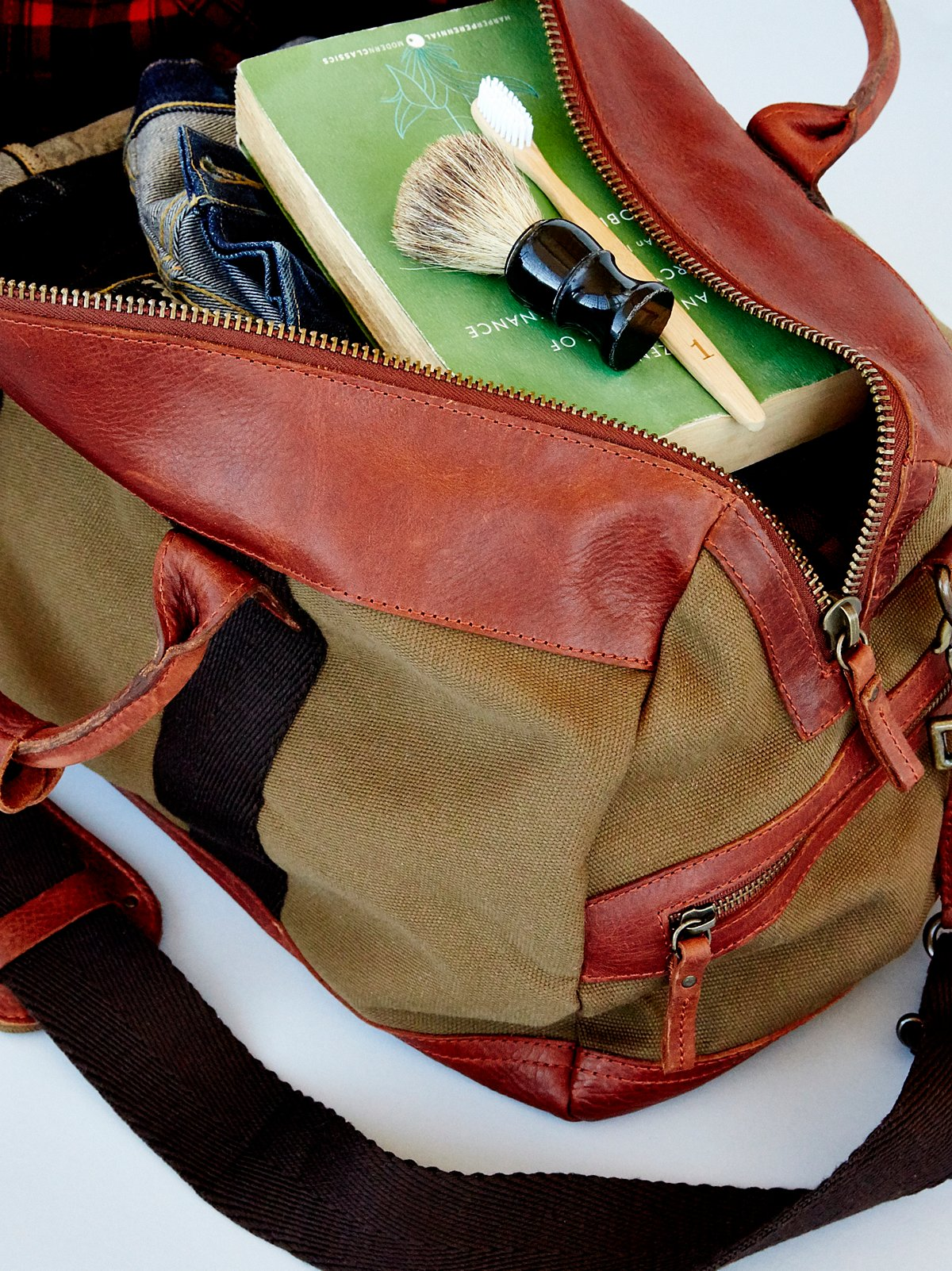 Atticus Leather x Canvas Duffel