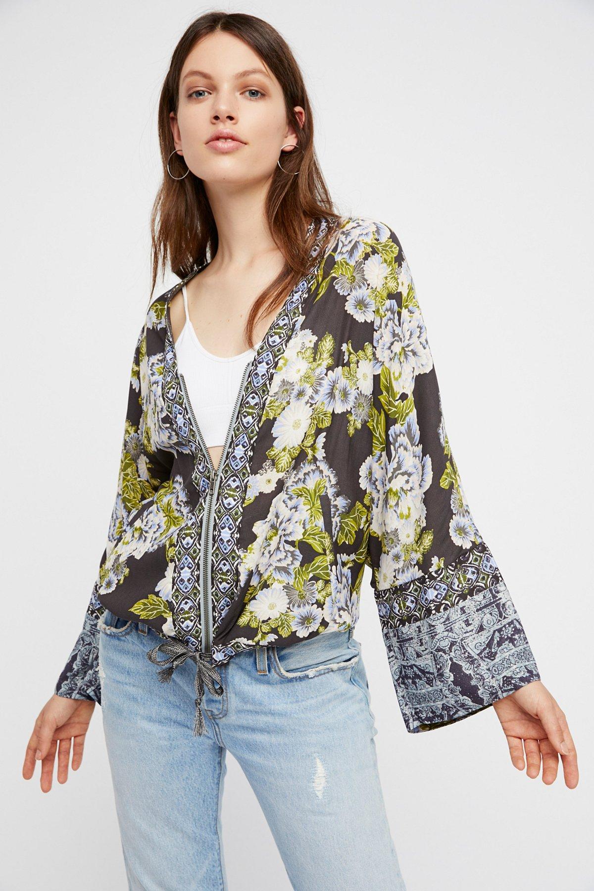 野花印花和服式夹克