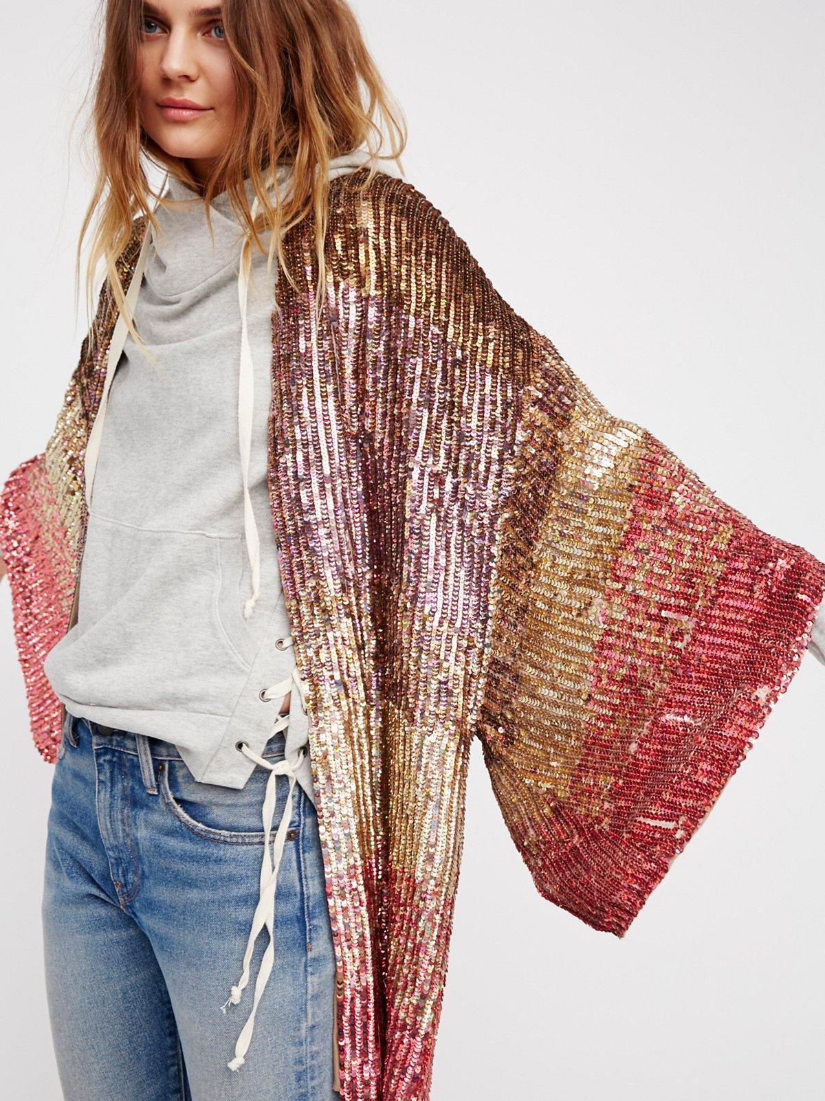 Ombre Sequin Kimono