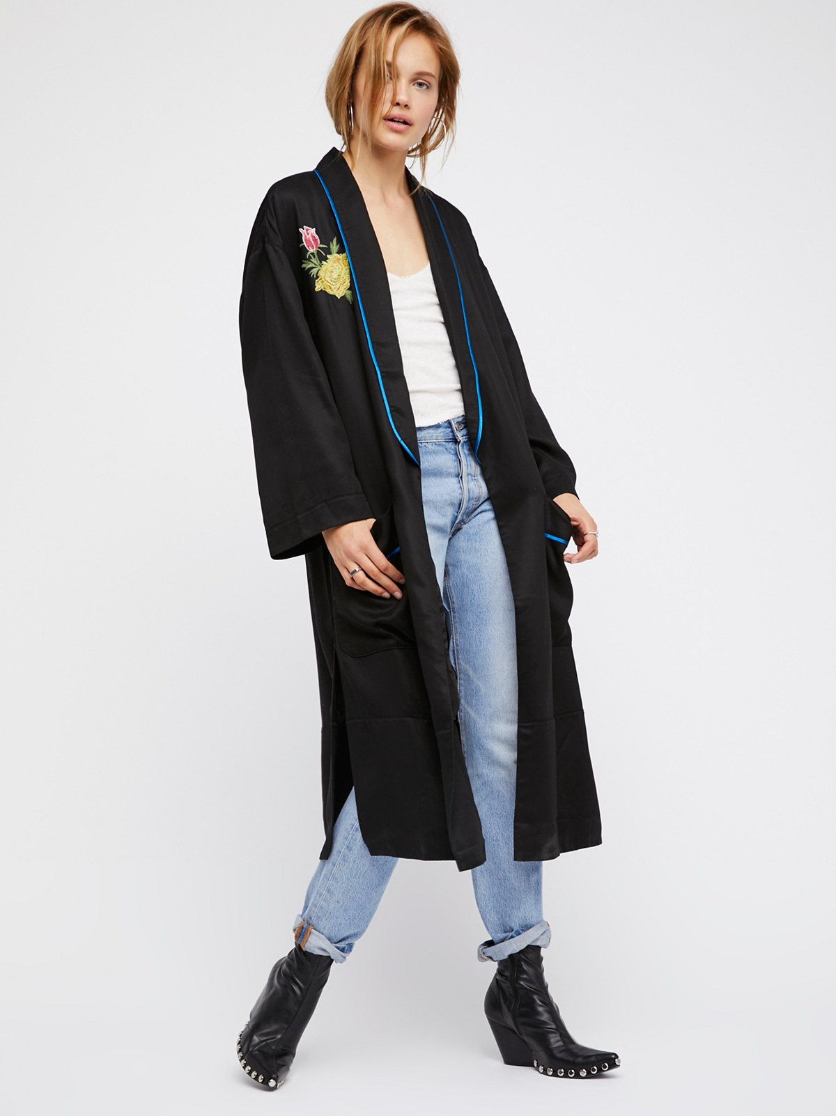 Embroidered Slouchy Duster