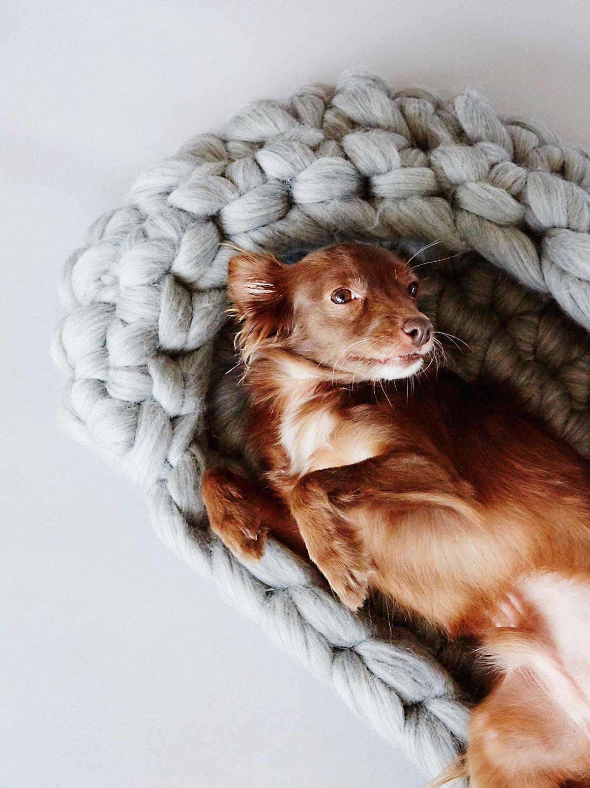 粗线针织羊毛狗床