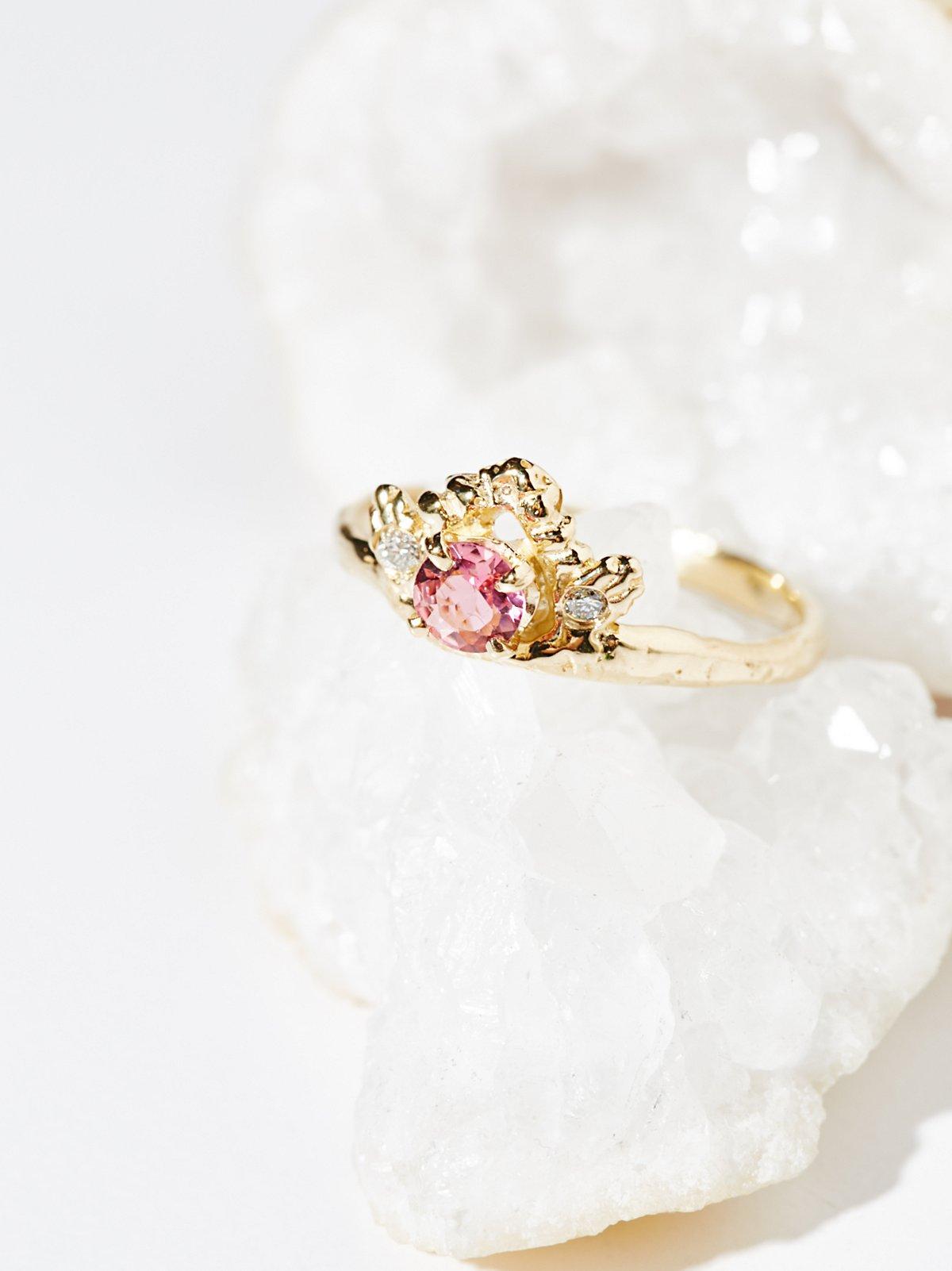 14k Diamond Tourmaline Ring