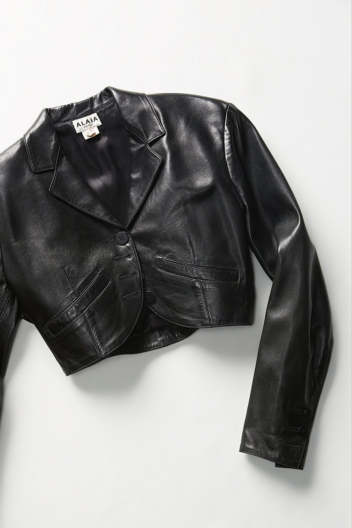 Vintage 1980s Alaia Cropped Leather Jacket