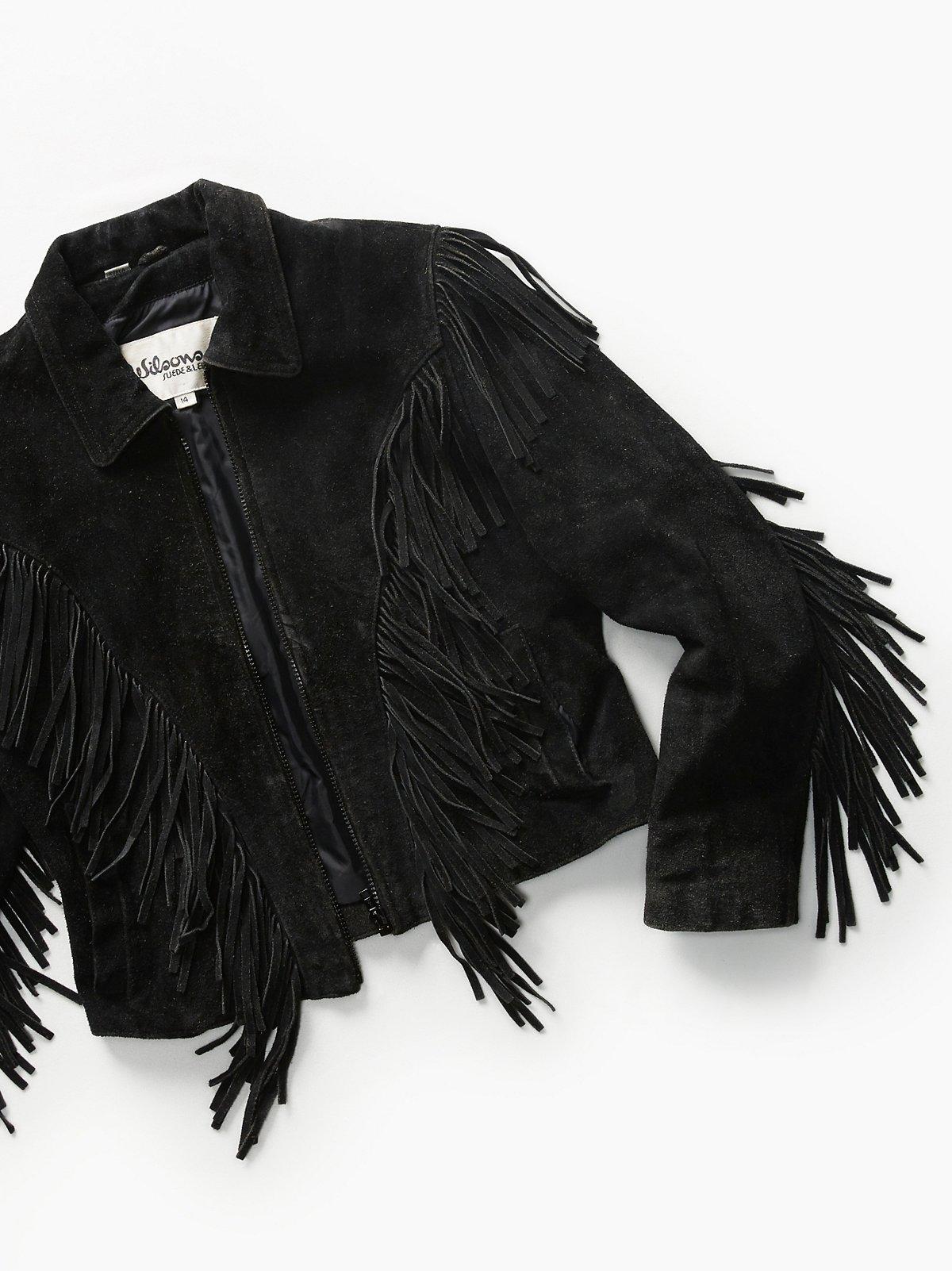 Vintage 1980s Fringe Suede Jacket