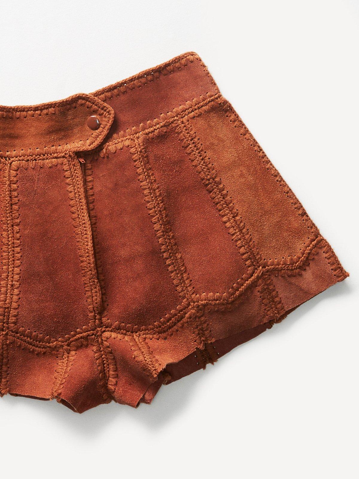 Vintage 1970s Suede Patchwork Shorts