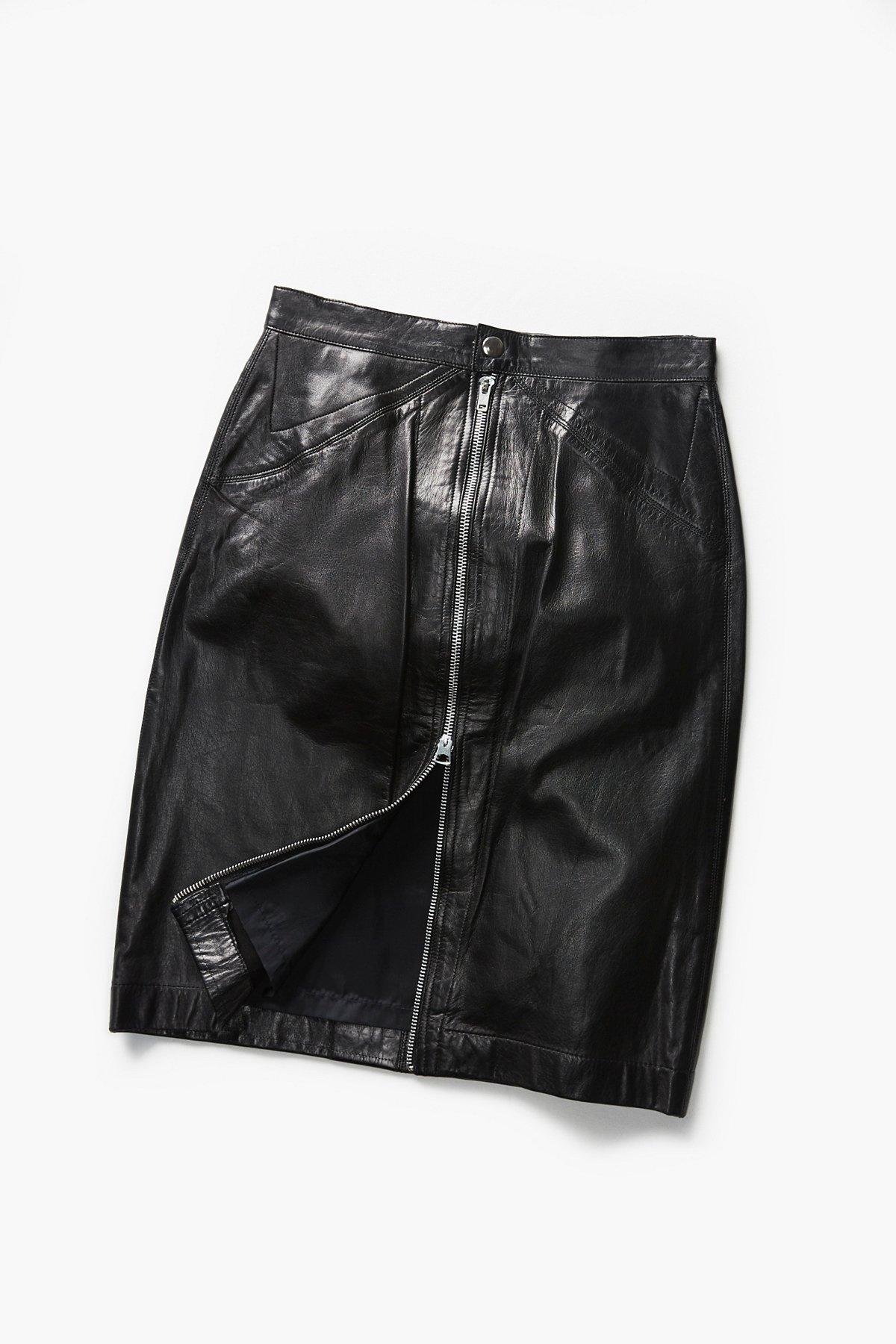 Vintage 1980s Leather Midi Skirt