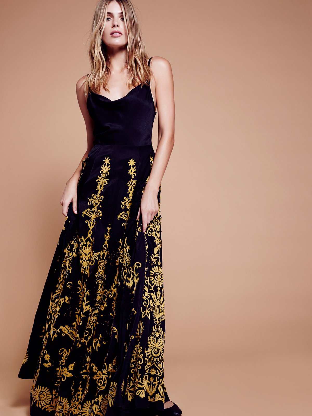 Cowl Embroidered Maxi Dress