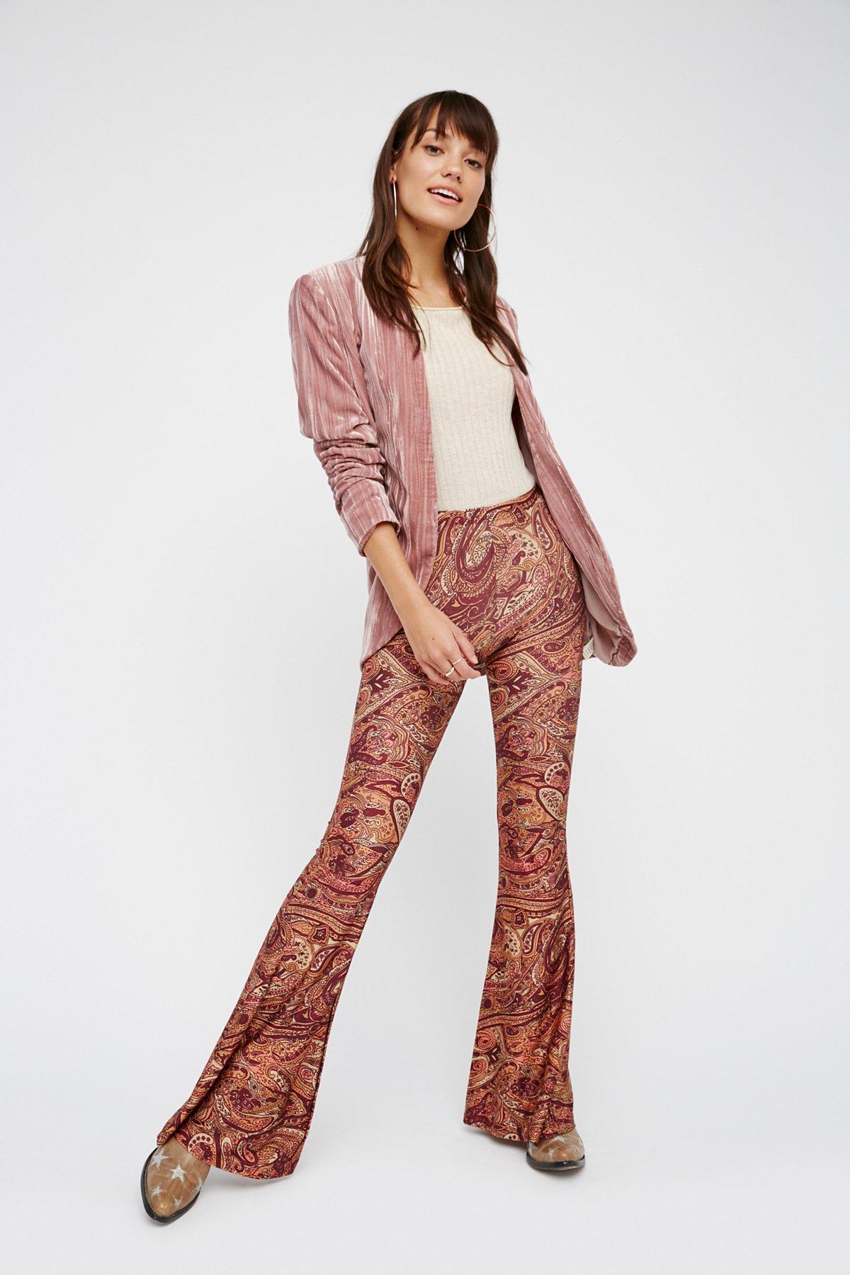 Janis印花喇叭裤