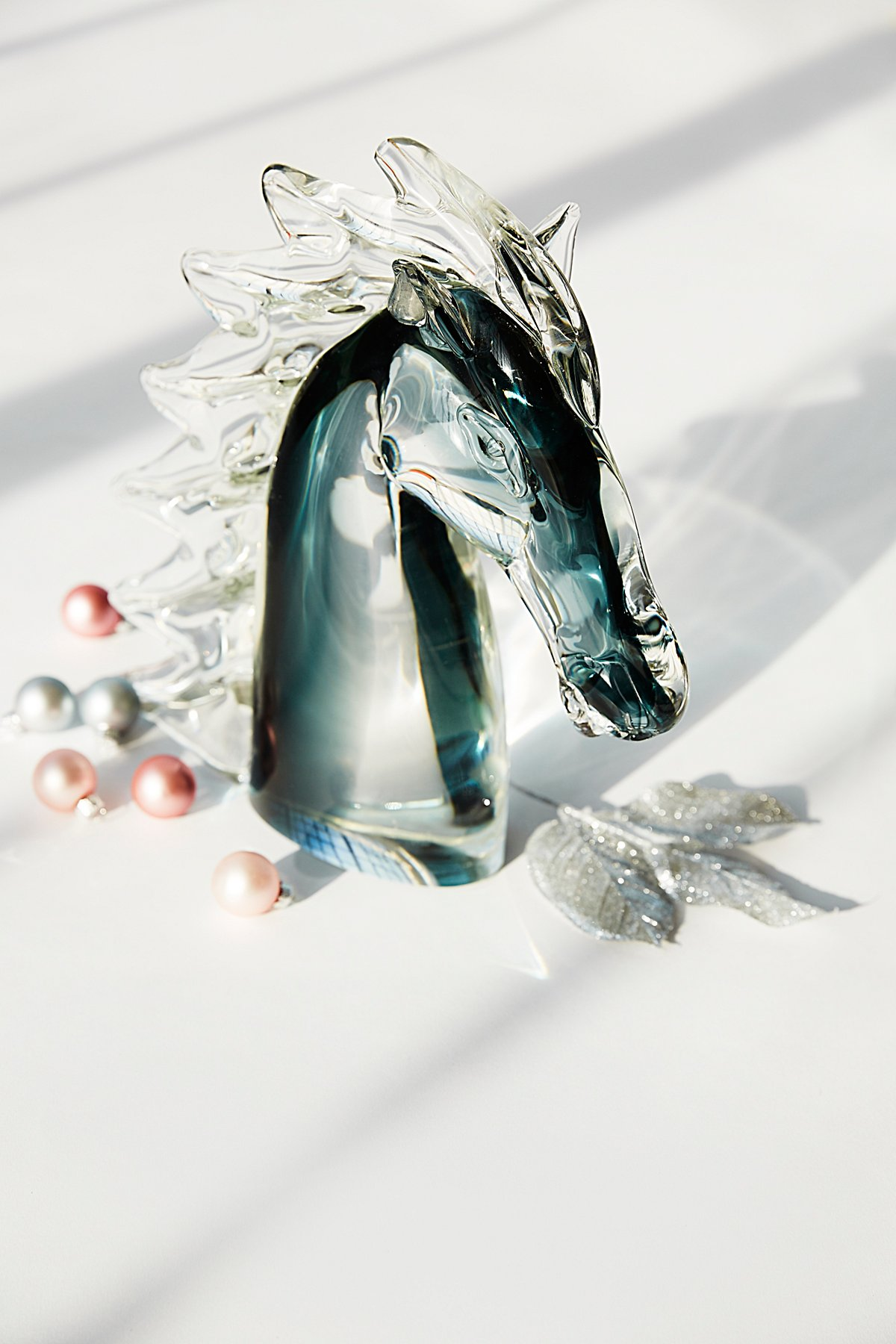 Vintage 1980s Glass Horse Head