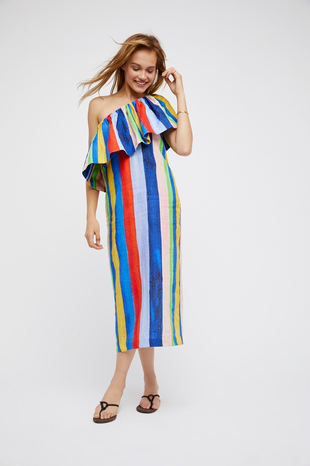 One Shoulder Colorful Midi Dress
