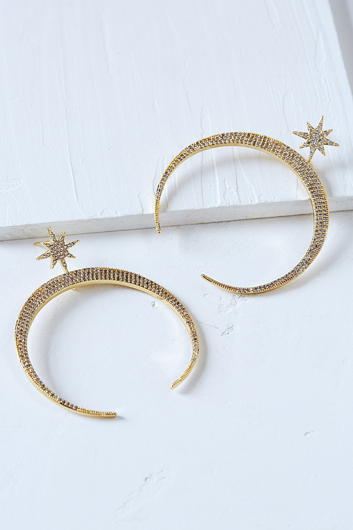 Half Moon Crystal Hoops